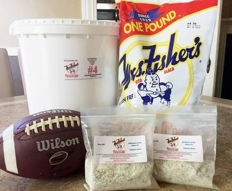 chip bag, bucket, football, and dip mix