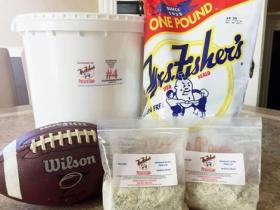 chip bag, bucket, football, and dip mix